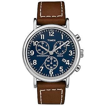 Timex мужские Weekender коричневый кожаный ремешок часы TW2R42600D7