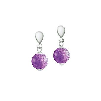 Eternal Collection Carnival Purple Czech Glass Crackle Bead Silver Tone Drop Clip On Earrings