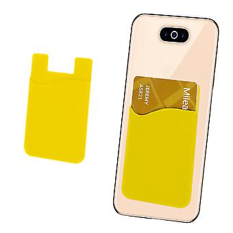 Silicone Credit / Debit Card Pouch For Navitel T757 LTE Device Wallet Holder Stick On Adhesive (Yellow)