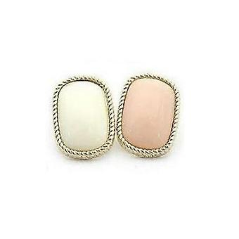 Earrings with beads, 1 pair (white)