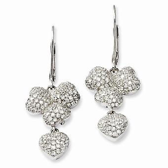 925 Sterling Silver Rhodium-plated and Cubic Zirconia Brilliant Embers Leverback Earrings