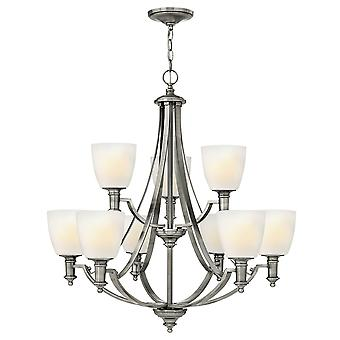 Truman Modern 9 Arm Chandelier with Etched Opal Glass Shades