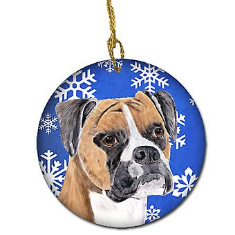 Boxer Winter Snowflakes Holiday Ceramic Ornament SC9390