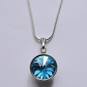 Pendant necklace with light blue crystal PMB 2.2
