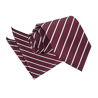 Herrarnas enda Stripe Burgundy & Silver slips 2 pc. Ställa in