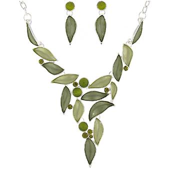 Silver and Green Enamel and Crystal Leaves Necklace and Earrings Set
