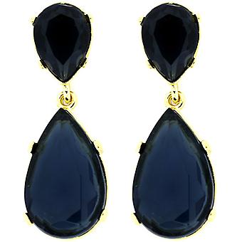 Kenneth Jay Lane verguld en Sapphire Blue Crystal Teardrop oorbellen