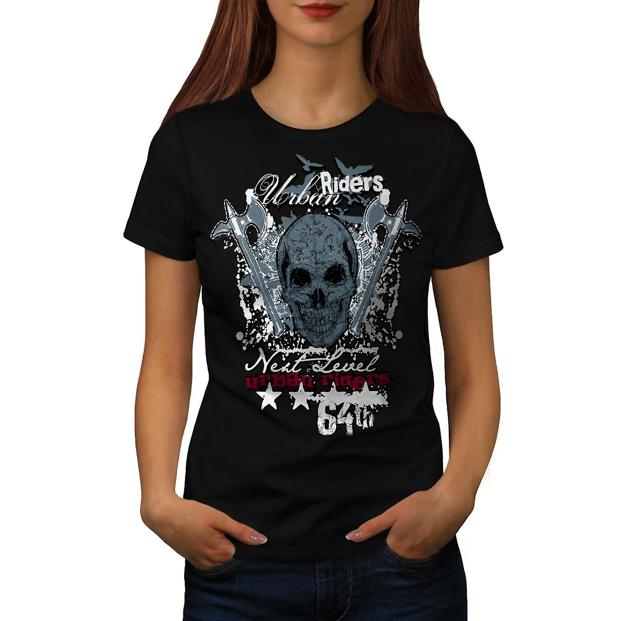 Urban Hell Rise Rider Bike Skull Women Black T-shirt | Wellcoda