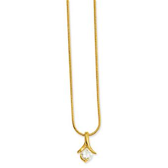 Gold-plated Ribbon Cubic Zirconia Necklace - 18 Inch