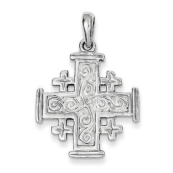 14 k wit goud Jeruzalem Kruis hanger - maatregelen 22x22mm