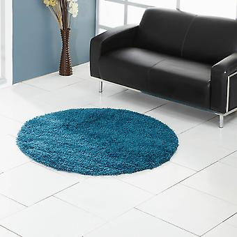 Ultima Shaggy Round Rugs In Kingfisher