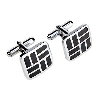 Marcell Sanders cuff links square black diamonds