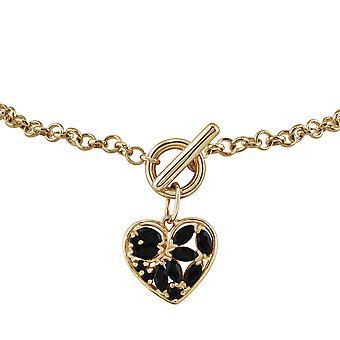 Gemondo 9ct Yellow Gold 0.86ct Sapphire Heart Charm 19cm Bracelet