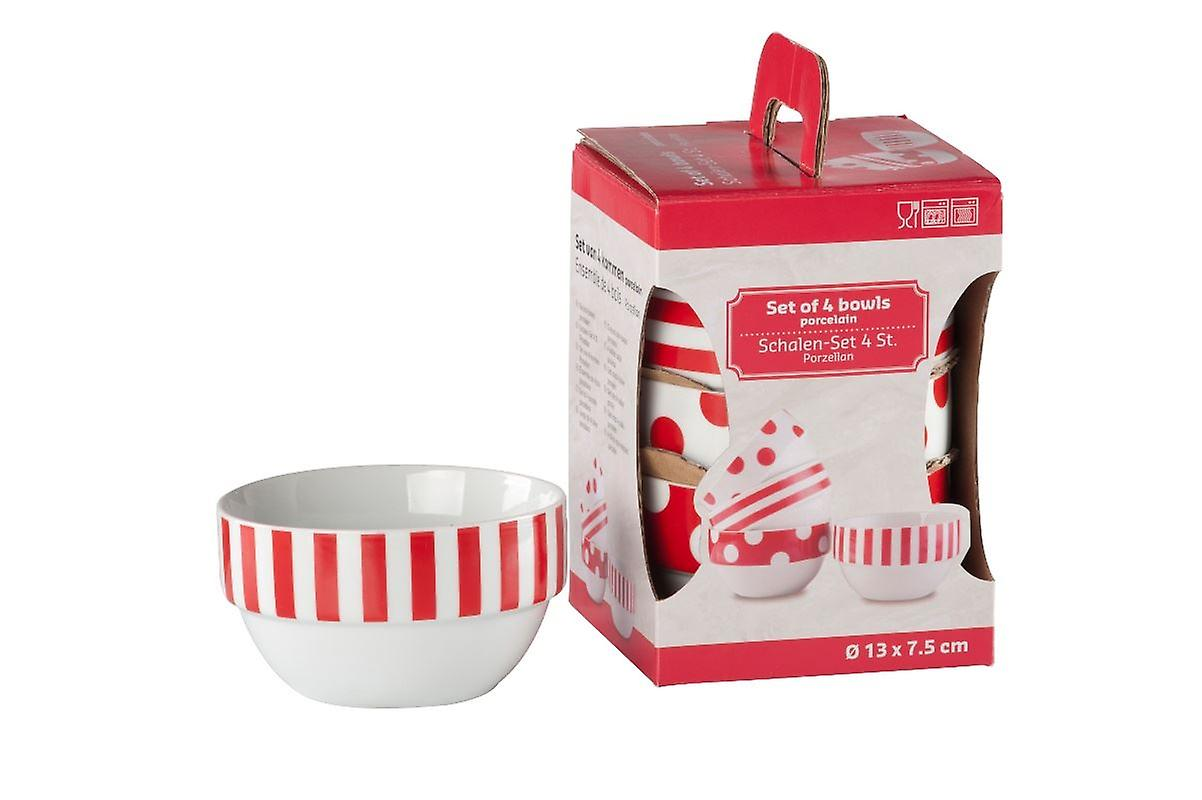Rojo/blanco juego de 4 tazones de porcelana para servir aperitivos sopa cereales