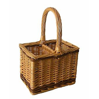 2 Bottle Steamed Wicker Bottle Carrier