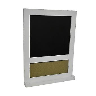 Distressed Finish Framed Wall Mount Chalkboard and Corkboard