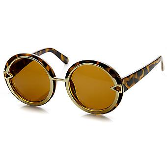 Womens Oversize Metal Trim High Fashion Round Sunglasses