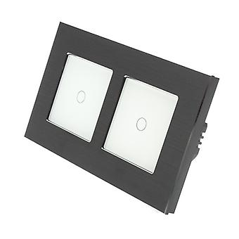 I LumoS Black Brushed Aluminium Double Frame 2 Gang 2 Way Remote & Dimmer Touch LED Light Switch White Insert