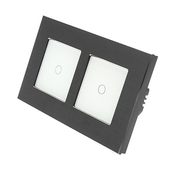 I LumoS noir Brushed Aluminium Double Frame 2 Gang 2 Way Touch LED lumière Switch blanc Insert