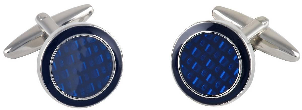 David Van Hagen Epoxy Circle Cufflinks - Silver/Navy
