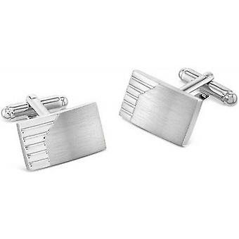 Duncan Walton Morfe Brushed Rhodium Plated Cufflinks - Silver