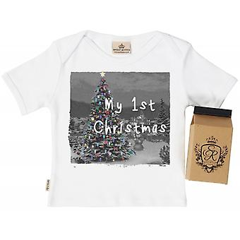 Spoilt Rotten My 1st Christmas Babys T-Shirt 100% Organic In Milk Carton