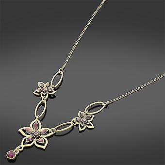 Antique Gold Amethyst Flowers Necklace