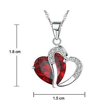 Boolavard® TM moda Checa Osterreic corazón de cristal collar + regalo caja rojo rubí...