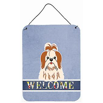 Shih Tzu Red White Welcome Wall or Door Hanging Prints