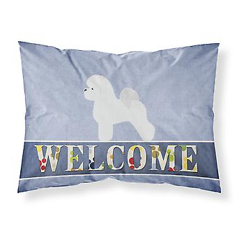 Bichon Frise Welcome Fabric Standard Pillowcase