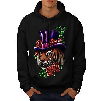 Tigre flor sombrero Animal hombres BlackHoodie | Wellcoda