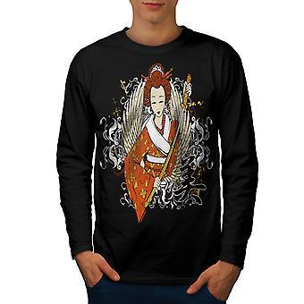 Geisha Flügel Schwert Männer BlackLong Sleeve T-shirt | Wellcoda