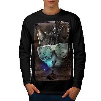 Cool Cat Men BlackLong Sleeve T-shirt | Wellcoda