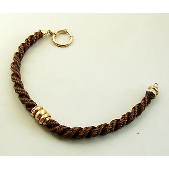 14 k pink gold bracelet with human hair