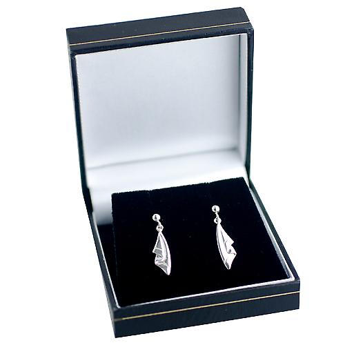 Silver 24x6mm plain Drape Earring droppers