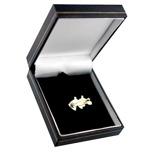 9ct Gold 15x25mm Brooch Double horses head