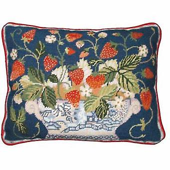 Blue Strawberry Fair Needlepoint Canvas