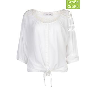 Blouse plus size shirt White with lace insert Aniston