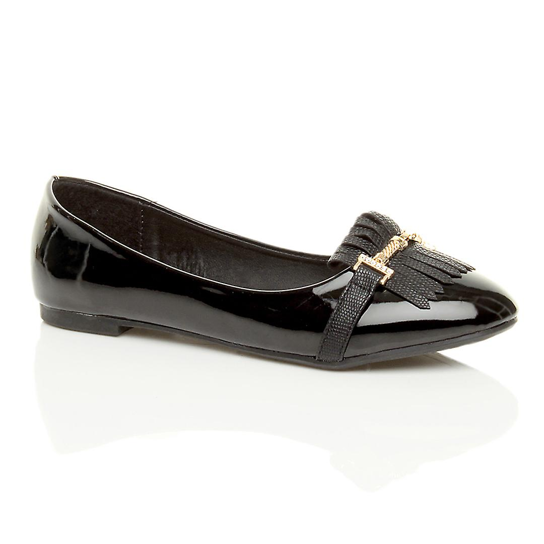 Ajvani womens flat low heel tassel fringe slip on ballerina work school dolly shoes