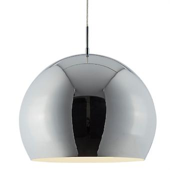 Large Chrome Industrial Pendant With White Inner - Searchlight 3039cc