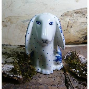 Hunden sitter, 11 x 11 x 7,5 cm, unik 10 boleslawiec aardewerk - BSN 8030