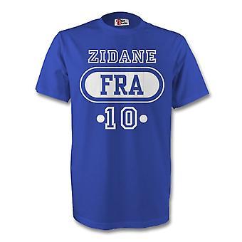 Zinedine Zidane Frankreich Fra T-Shirt (blau)