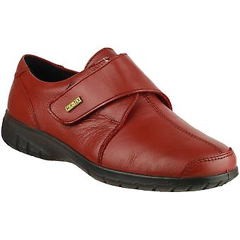 Cotswold Ladies Cranham Touch Fastening Leather Waterproof Shoe Red