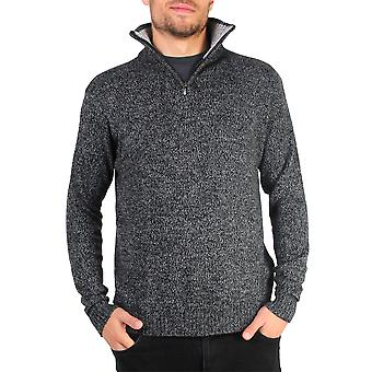 KRISP Mens Soft Wool Knit Half Zip Funnel Neck Pull Top Grandad Pullover Top