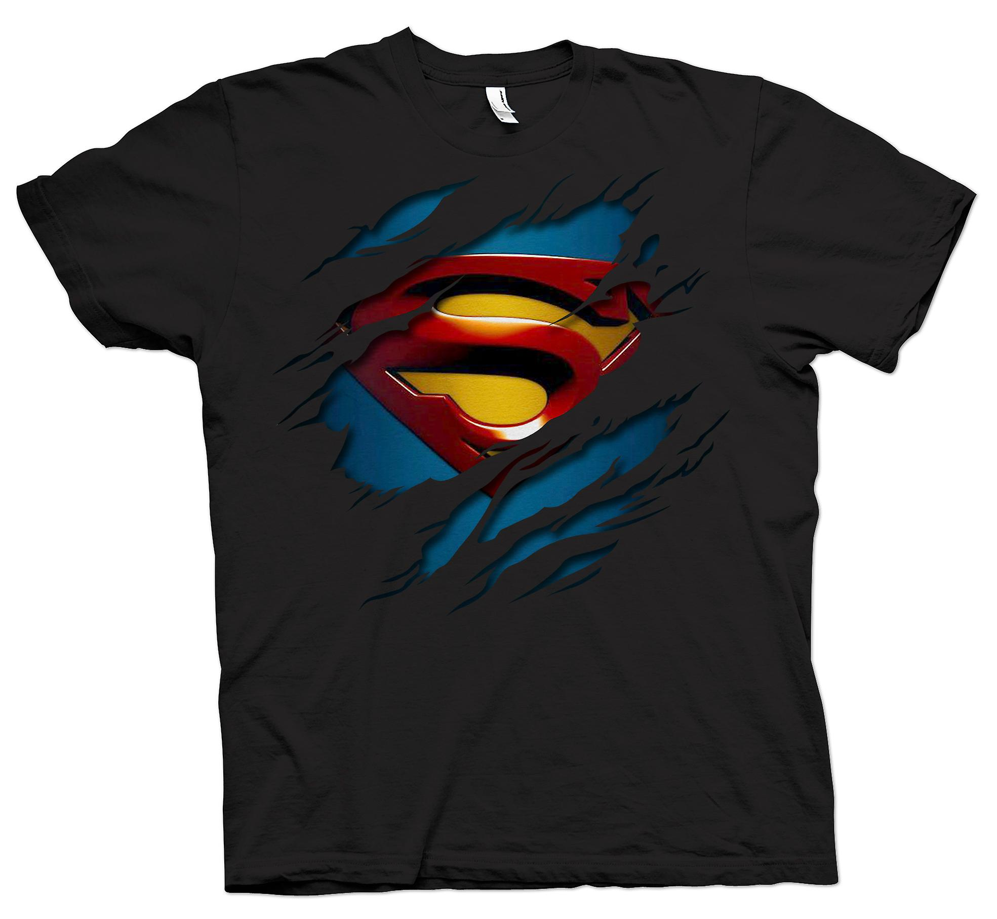 Womens T-shirt - Superman Under Shirt Effect - Action - Superhero