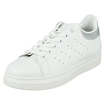 Womens Spot On Trainers F80194 White / Silver Size 4