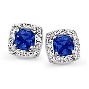 Orphelia argent 925 boucles d'oreilles Princess Zirconium bleu ZO-7199/BL