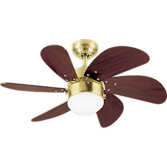 Westinghouse ceiling fan Turbo Swirl satin brass with lighting