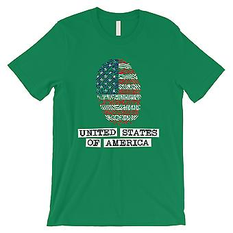 USA Fingerprint Flag Tee Mens Green 4th of July Outfit Gag Gifts