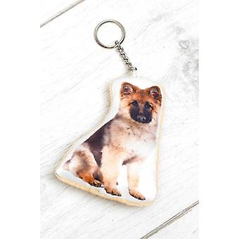 Adorable German Shepherd Shaped Keyring